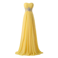 Elegantly Strapless Pleated Chiffon Evening Dresses with Beading Rhinestone Waist