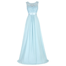 Elegant Sleeveless Floor Length Chiffon Evening/ Prom Dresses with Lace Bodice