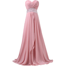 Elegant Sweetheart Pleated Chiffon Evening Dresses with Beaded Crystal Waist