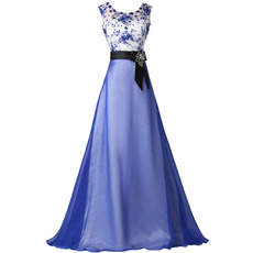 Inexpensive Chiffon Skirt Evening Dresses with Appliques Bodice and Sashes