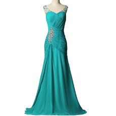 Classy Sweetheart Pleated Chiffon Evening Dresses with Beaded Detail