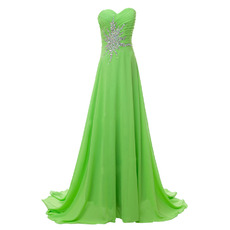 Elegantly A-Line Sweetheart Chiffon Evening Dress with Rhinestone Detail