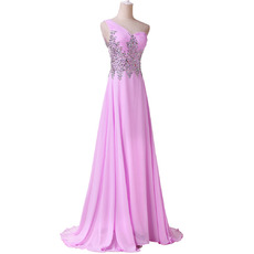 Affordable One Shoulder Chiffon Evening Dress with Shimmering Rhinestone Bodice