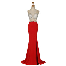 Sparkle & Shine Crystal Embellished Bodice Evening Dress with Thigh-high Skirt Slit