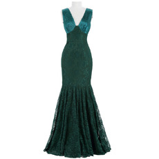 Custom Mermaid V-Neck Sleeveless Floor Length Lace Evening Dresses
