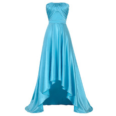 Discount Strapless High-Low Asymmetric Satin Evening/ Prom Dresses