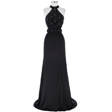 Sexy Halter Sleeveless Chiffon Black Embroidery Evening Dresses