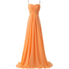Glamour Crystal Spaghetti Straps Chiffon Evening/ Prom Dresses with Sexy Exposed Back