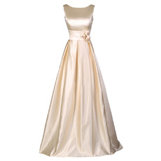 Simple A-Line Pleated Satin Evening/ Prom Dresses with Plunging Scoop Back