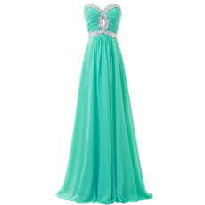 Shimmering Crystal Beaded Sweetheart and Waist Evening/ Prom Dresses with Ruching Detail
