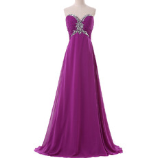 Dramatic Rhinestone Sweetheart Empire Chiffon Evening/ Prom Dresses with Pleated Bust
