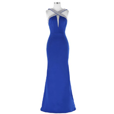 Custom Sheath Floor Length Satin Evening Dresses with Cross Straps
