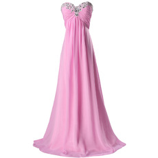 Elegant Empire Beaded Sweetheart Pleated Chiffon Evening Dresses
