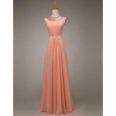 Elegant Sleeveless Floor Length Chiffon Evening/ Prom Party Dresses with Crystal Neckline