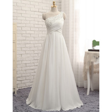 Elegantly One Shoulder Floor Length Chiffon Wedding Dresses with Beaded Crystal Detailing