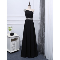 Custom One Shoulder Floor Length Chiffon Black Evening/ Prom Dresses