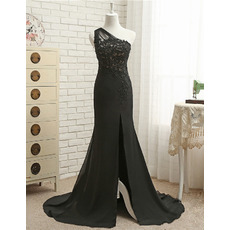 Affordable One Shoulder Chiffon Evening Dresses with Beaded Appliques Bodice