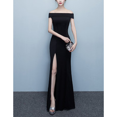 Simple Off-the-shoulder Floor Length Satin Evening Dresses with Split Skirt
