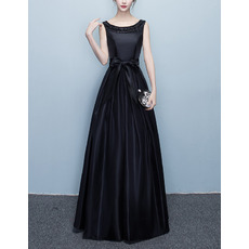 2017 Style Ball Gown Floor Length Taffeta Black Evening Dresses