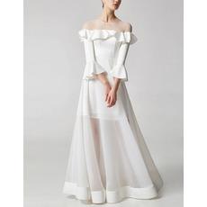 Custom Floor Length Satin Organza Evening Dresses with Bell Sleeves
