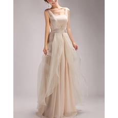 Elegant Floor Length Satin Organza Evening/ Prom/ Party Dresses
