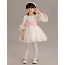 Latest Cute Short Lace and Tulle Flower Girl Dresses with Bell Sleeves and Sashes