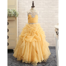 Latest Ball Gown Pick-up Skirt Organza Little Girls Party Dresses with Rhinestone