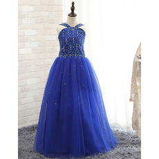 Gorgeous Spaghetti Straps Crystal Detailing Royal Blue Little Girls Party Dresses with Pleated Skirt