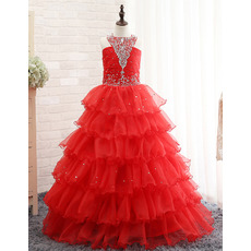 Shimmering Halter Crystal Detailing Full Length Layered Skirt Party Dresses for Juniors/ Gorgeous Tiered Flower Girl Dresses