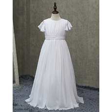 Inexpensive Pleated Chiffon First Communion Dresses with Flutter Sleeves/ Simple A-Line Round Flower Girl Dresses