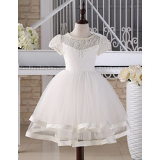 Lovely Ball Gown Knee Length First Communion Dress with Short Sleeves/ Cute Beaded Two Layered Skirt Tulle Flower Girl Dresses