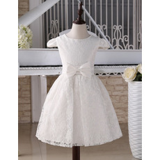 Discount Knee Length Lace First Communion Dresses with Cap Sleeves/ Cute Flower Girl Dresses with Satin Waistband