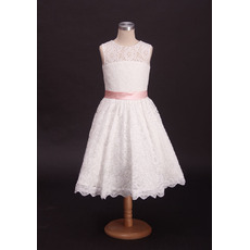 Stylish A-Line Tea Length Lace First Communion Dresses with Belts/ Modern Flower Girl Dresses with Open Back