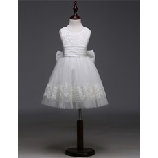 Latest Sleeveless Short First Communion Dresses with Bows/ Cute Lace Applique Adornments Flower Girl Dresses