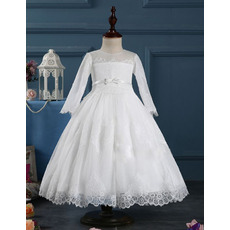 Lovely Tea Length First Communion Dresses with Long Sleeves/ Vintage Lace Applique Adornments Flower Girl Dresses