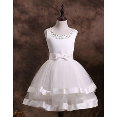 Custom Made Ball Gown Short First Communion Dresses/ Beaded Neck Two Layered Satin Tulle Flower Girl Dresses