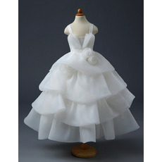 Classy Tea Length Satin Organza Layered Skirt First Communion Dresses/ Exquisitely layered Flower Girl Dresses with Rose