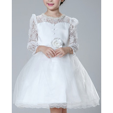 Beautiful Ball Gown Beaded Scoop Neck Short First Communion Dresses with Puff Sleeves/ Discount Lace Satin Flower Girl Dresses