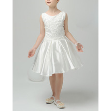Perfect A-Line Sleeveless Short Satin Appliques First Communion Dresses/ Lovely Tulle Back Flower Girl Dresses