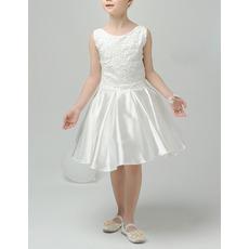 Perfect A-Line Sleeveless Short Satin Appliques First Communion Dresses/ Lovely Tulle Back Flower Girl Dresses