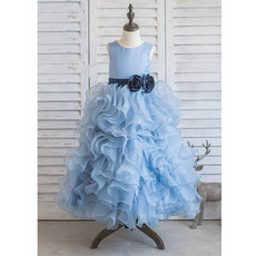 Pretty Long Ruffle Skirt Organza Little Girls Party Dresses with Belts and Handmade Flowers