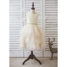 Popular Tea Length Satin Tulle Layered Bubble Skirt Flower Girl Dresses with Beading Belt
