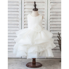 Cute Beautiful Tea Length Satin Organza Layered Bubble Skirt Flower Girl Dresses with Handmade Flowers