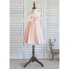 Simple Wide Straps Short Satin Bow Easter/ Spring Little Girl Dress with Pleated Skirt and Bowknot