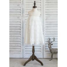 Cheap White Empire Short Satin Tulle Layered Skirt Flower Girl Dresses