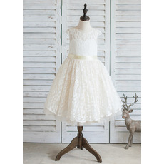 Cute Ivory Cap Sleeves V-back Knee Length Lace Flower Girl Dresses with Sashes