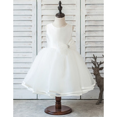 Cute Ivory Ball Gown Tea Length Organza Flower Girl/ First Communion Dresses with Beaded Bows