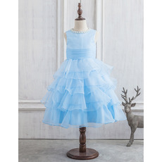 Pretty Ball Gown Tea Length Organza Layered Skirt Flower Girl Dresses with Beaded Neckline