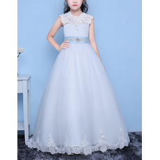 Discount A-Line Full Length Appliques Beaded Organza Flower Girl Dresses with Belts