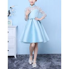 Discount Mandarin Collar Short Easter/ Spring Girls Dresses with Long Lace Sleeves and Crystal Detailing